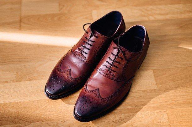 Zapatos cuero rojo hombre